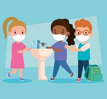 prevent covid 19, wearing medical mask, wash your hands, children wearing protective mask, health care concept vector