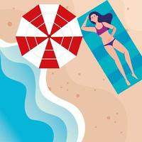 view aerial, woman with swimsuit lying tanning in the beach, summer vacation season vector