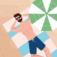 view aerial, man lying tanning in the beach, summer vacation season vector