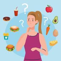 woman choosing between healthy and unhealthy food, fast food vs balanced menu vector