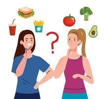 women choosing between healthy and unhealthy food, fast food vs balanced menu vector