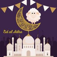 celebration of muslim community festival eid al adha, card with sacrificial sheep and traditional monument, moon and garlands hanging vector