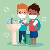 prevent covid 19, wearing medical mask, wash your hands, boys wearing protective mask, health care concept vector