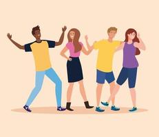 happy characters, young people, friendship excitement, cheerful laughing from happiness vector