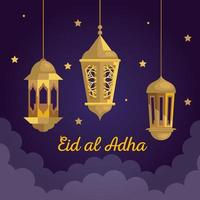 eid al adha mubarak, happy sacrifice feast, with golden lanterns hanging and stars decoration vector