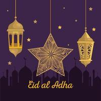 eid al adha mubarak, happy sacrifice feast, with golden lanterns and star hanging decoration vector