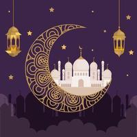 eid al adha mubarak, happy sacrifice feast, with golden lanterns hanging decoration, moon and monuments traditional vector