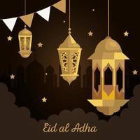 eid al adha mubarak, happy sacrifice feast, with golden lanterns and garlands hanging decoration vector