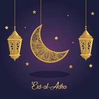 eid al adha mubarak, happy sacrifice feast, with golden lanterns and moon hanging decoration vector