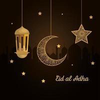 eid al adha mubarak, happy sacrifice feast, with golden lantern, moon and star hanging decoration vector