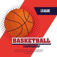 Campeonato de baloncesto de la liga, emblema, diseño con pelota de baloncesto. vector
