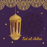 eid al adha mubarak, happy sacrifice feast, with golden lantern hanging decoration vector