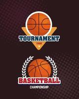 establecer etiquetas, campeonato de baloncesto de la liga, emblema, diseños con pelota de baloncesto vector