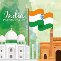famous monuments of india in background for happy independence day, with flag of india with ashoka wheel vector