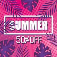 verano cincuenta por ciento de descuento, pancarta con hojas tropicales, pancarta floral exótica vector