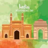 famous monuments of india in background for happy independence day vector