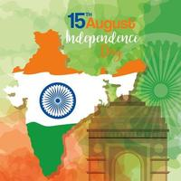 famous monuments of india in background for happy independence day, map india with ashoka wheel vector
