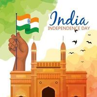 famous monument of india in background for happy independence day, with hand and flag of india vector