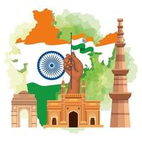 famous monuments of india in background for happy independence day, with map of india and traditions icons vector