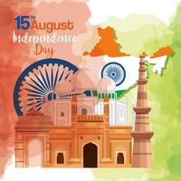 famous monuments of india in background for happy independence day, with map of india and ashoka wheel vector