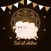 celebration of muslim community festival eid al adha, card with sacrificial sheep and gold mandala, garlands hanging decoration vector