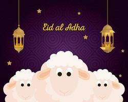 celebration of muslim community festival eid al adha, card with sacrificial sheep and golden lanterns hanging vector