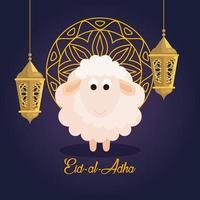 celebration of muslim community festival eid al adha, card with sacrificial sheep and gold mandala, lanterns hanging decoration vector