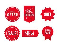 etiquetas de precio, colección de banners de cinta roja, promoción de venta, pegatinas de sitios web, ofertas especiales vector