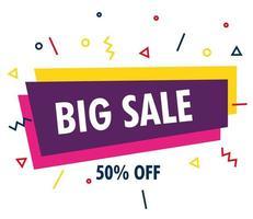 plantilla de banner de venta, gran venta, promoción de cincuenta por ciento de descuento, concepto de plantilla de banner de venta vector