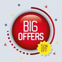botón grandes ofertas, grandes ofertas oferta, cincuenta por ciento de descuento vector