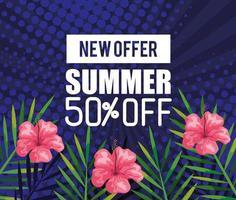nueva oferta verano cincuenta por ciento de descuento, banner con flores y hojas tropicales, banner floral exótico vector