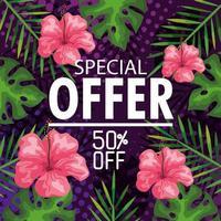 Oferta especial cincuenta por ciento de descuento, banner con fondo de flores y hojas tropicales, banner floral exótico vector