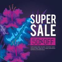 super venta de verano cincuenta por ciento de descuento, banner con flores y hojas tropicales, banner floral exótico vector