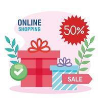compras en línea, concepto de marketing digital, cajas de regalo con un cincuenta por ciento de descuento vector