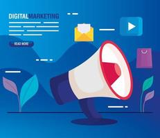 digital online marketing for business and social media marketing, megaphone and marketing icons vector