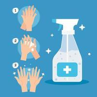 protección contra coronavirus, pisa las manos frecuentemente con desinfectante de botella en aerosol, protege covid 19 vector