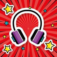 headset pop art style icon vector
