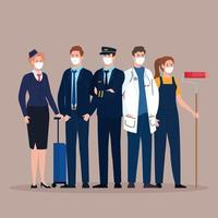 piloto con grupo de trabajadores en covid 19, trabajadores con máscara médica contra el coronavirus vector