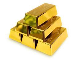 barra de oro sobre fondo blanco foto