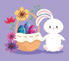 conejito con huevos de pascua en canasta de mimbre vector
