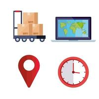 set of delivery logistic service icons vector