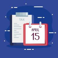 document of tax paid with calendar reminder vector