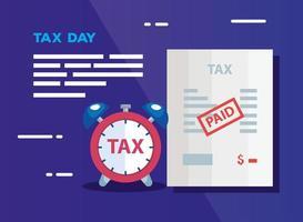 cartel del día de impuestos con documento y despertador vector