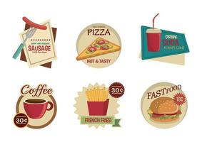 bundle of fast food labels vector
