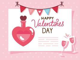 tarjeta de feliz día de san valentín y botella de fragancia con decoración vector