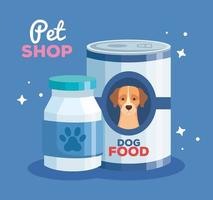 pet shop with food dog can and bottle plastic vector