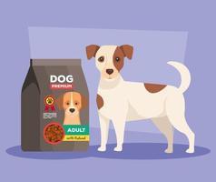 cute dog with bag food animal vector