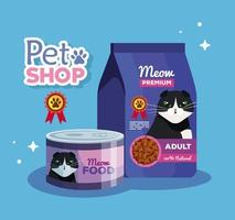 pet shop veterinary with food cat vector