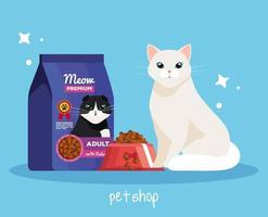 pet shop veterinary with cat and food vector