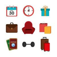 bundle of gift box and set icons vector